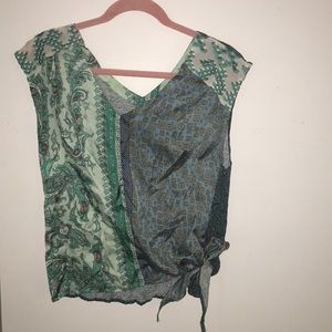 Boho chic top with satin embroidery and side tie
